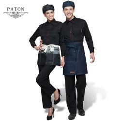 Custom Chef profesional de color negro uniforme, la chaqueta de chef de restaurante