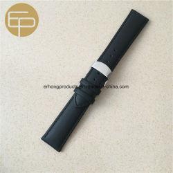 Black Bracelet en cuir de veau rembourré avec boucle papillon