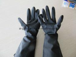Длинный рабочий водонепроницаемый химического устойчив черный латекс резиновые перчатки промышленности