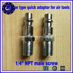 L'Europe vis 1/4 NPT mâle de type adaptateur rapide pour l'air d'outils (raccords pneumatiques)