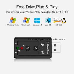 7.1 KanalExternal USB-fehlerfreie Karte USB Kopfhörer-Adapterzur audiomic-fehlerfreien Karte Jack-3.5mm für Mac-Gewinn XP 7 8 Android-Linux