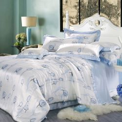 Taihu Snow Home Textile Silk Beautiful Flower Printed Duvet Bedding Set als Gift