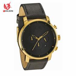 Het klassieke Horloge van het Leer van de Sport van het Kwarts van Drie Ogen Multifunctionele Chrono - V47