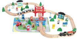 Деревянные многофункциональный 80ПК железнодорожных поездов набор игрушек для детей и детей