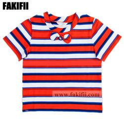Haut de la qualité de la mode de gros de vêtement pour bébé fille Kid vêtements coton T-Shirt Stripe Casusal Shirt Bébé
