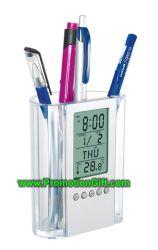 Relógio Calendário Multifunção acrílico caso das canetas