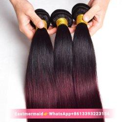 Precio mayorista #1b Burg humano de color borgoña Mink cabellos lisos Hair Extension