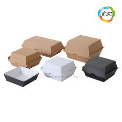 Het beschikbare Vakje van de Hamburger van de Snack van de Lunch van de Verpakking van het Voedsel van het Document van Kraftpapier Golf