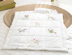 Orgánica para bebés edredones de algodón Set productos del bebé blanco bordado Almohada bebé y acolchados