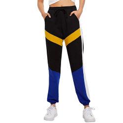 Les femmes taille élastique Patchwork Pantalon Pantalon Streetwear occasionnel crayon