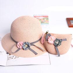 Enfants Les enfants du Panama de papier personnalisé du chapeau de paille avec de la paille Sac Sun Hat