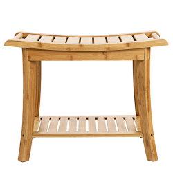 Cuarto de baño de madera de bambú de la vanidad de almacenamiento de la banqueta ducha