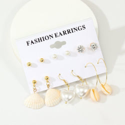 6 paires de la plage Shell Naturelle Earrings Set-Pendant Earring Set (ESG11626)