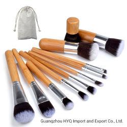 11HP Professional conjunto de escovas de maquiagem de bambu Fundação Cosméticos Compõem o Kit de Ferramentas da escova para pó Olho Blusher Eyeliner Shadow