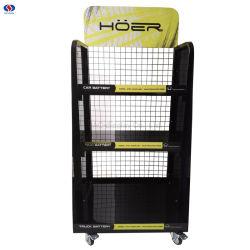 3-couche personnalisée plancher métallique Batteries commerciale d'affichage de batterie de voiture automobile Rack de stockage