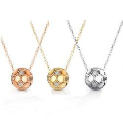 Collier pendentif Football sportif avec la chaîne de soccer de zircon Collier or les femmes de couleur Sport bijoux à billes
