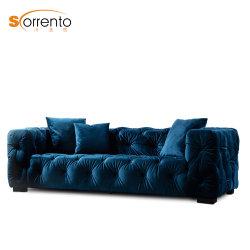 Euorpeanチェスターフィールドファブリック贅沢3のSeaterのソファーの青いビロードの結婚式のソファーのホームアパートの家具