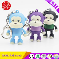 Schattig klein Monkey met Vocal en Flash Plastic sleutelhanger