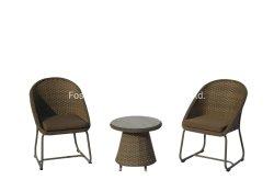 Для отдыха в саду пластиковые сахарного тростника для использования вне помещений алюминий патио кофейный столик с 2 стульями ротанга