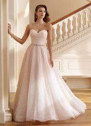 À noite Strapless Prom vestidos cintilantes Pink Tulle Suite Wedding Robes C147151