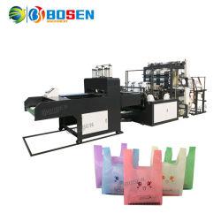플라스틱 t-셔츠 조끼 바닥 최신 밀봉 찬 절단을 일으키는 완전히 자동적인 6개의 선은 판매 가격에 있는 기계 제조자를 만드는 부대를 전송한다