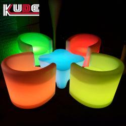 Brillando lujoso mobiliario de exterior LED iluminado brillando sofá