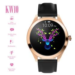 ساعة ذكية IP68 مقاومة للماء مقاومة للماء من الفولاذ المقاوم للصدأ Kw10 نساء Smart Watch Fitness Bracelet