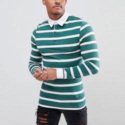 Listrado personalizado de Manga Longa muscular homens Polo-Shirt de algodão