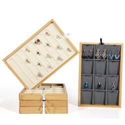 リングまたはイヤリングまたはブレスレットまたはペンダントのオルガナイザーの記憶のためのスタック可能タケ宝石類の表示皿