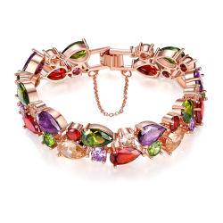Sencillo Pulsera de moda joyas de cobre chapado en plata de zirconio delicado encanto Pulsera