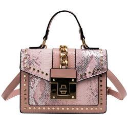 Pequeño bolso de mano de alta calidad bolsas Crossbody remache de bloqueo de Plaza de la Serpentina de cuero de PU Bolso Bolso personalizado