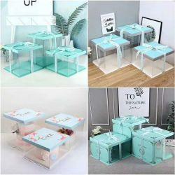 Festa de aniversário de casamento dom Bolo de padaria de alta qualidade da caixa de embalagem plástica transparente Quadrada Caixa de bolo com fita