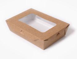 Het in het groot Verpakkende Vakje van de Lunch van het Vakje van het Fruit van de Salade van het Document van Kraftpapier Meeneem met het Venster van het Huisdier