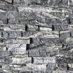 Forêt noire de la culture de marbre de bois Cheminée en Pierre Surround, bois ancien Ledgestone en marbre noir