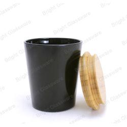 8 オンス 10oz ブラックガラスキャンドルホルダー木製キャンドルリッド付き