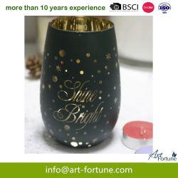 Bougie en verre de luxe titulaire avec Electroplate et Coupé au laser pour Noël