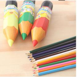 24 pcs dans boîtier en plastique au crayon de couleur du support de tube