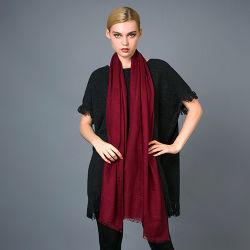 100% Pure Cashmere Plaid Dames lange sjaal garen Dyed Met effen kleur