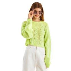 De kabel breit Sweater van het Breigoed van het Zweet van de Sweater van de Dames van de Hals van de Bemanning de Warme