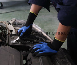 Le nylon et Spandex gant de travail tricotés avec 3/4 de sable noir trempage de nitrile (N1572)