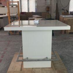 Café de soporte de luz LED de altura de la tabla de la sala de reuniones de diseño moderno y sencillo inteligente de lujo de Corian blanco puro de piedra de cuarzo de acrílico encimera de mármol forma cuadrada mesa de reuniones