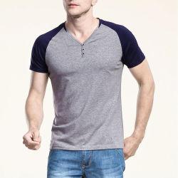 Custom V шеи большими мужская Tshirt 100% хлопок