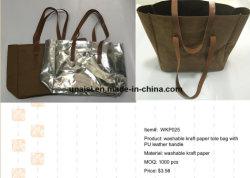 Lavable métallique de papier Kraft écologique de la mode à l'épaule fourre-tout sac à main
