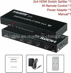 2X4 кабеля HDMI 3D 4K True матричного коммутатора разветвитель 2 в 4, дисплей