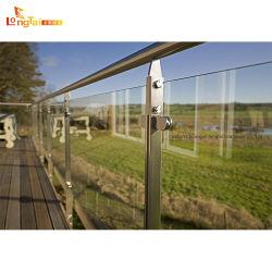 Haute qualité d'un balcon en verre Balustrade Baluste Balustrade en acier inoxydable de la main courante