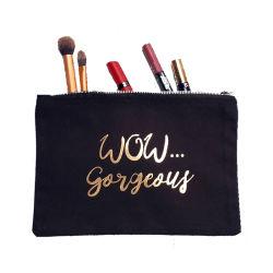 Segeltuch-kosmetischer Beutel, passen schwarzes Goldfunkeln-Großhandelszeichen gedruckten Firmenzeichen-kleine Baumwollreißverschluss-Arbeitsweg-Toilettenartikel-Beutel-Verfassungs-verpackenbeutel 100% an