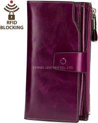 높은 고전적인 Purse Genuine Cow Leather 형식 숙녀 숙녀 지갑 (F5000)를 막는 제조자 RFID