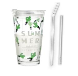 再使用可能1つのふたに付きガラスタンブラーのコーヒー・マグジュースのミルク飲み物のコップ2つをカスタム設計しなさい