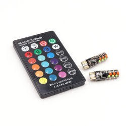 T10 RGB LED W5W 194 5050 SMD 차량 청소 표시등 실내등 독서용 전구 12V COB RGBW 자동 실내등 분위기 램프