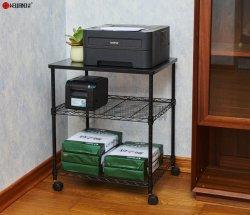 Los productos de alambre de escritorio de la serie/pie de la máquina de laminación ajustable de 3 niveles de almacenamiento de la impresora Rack con ruedas